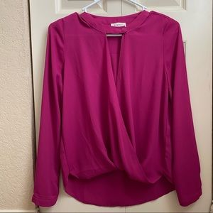Keyhole Wrap Blouse Top Shirt Pink Everly